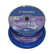 Média DVD+R DL Verbatim spindle 50, 8.5GB, 8x, matt silver surface