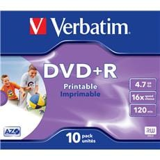 Média DVD+R Verbatim 4.7GB, 16x, Printable, Box, 10ks